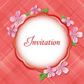 Pink floral invitational card with frame - vector Royalty Free Stock Photography