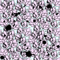 Pink floral lotus seamless pattern ink vector illustration Royalty Free Stock Image