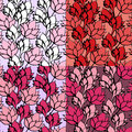 Pink floral lotus seamless pattern set ink vector illustration Royalty Free Stock Photo