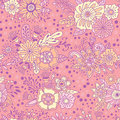 Pink floral ornamental seamless pattern. Vector decorative background. Flowers and herbs doodle elements