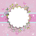 Pink floral round frame for your sample text Royalty Free Stock Photo