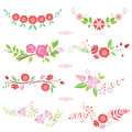 Pink flower bouquets design spring greeting card decoration Stock Photography