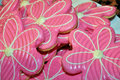 Pink flower cookies Stock Photo