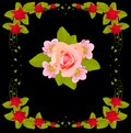 Pink flower design in red rose frame Royalty Free Stock Photos