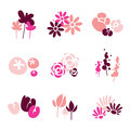 Pink flower design set Stock Photo