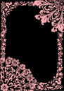 Pink flower frame with curles on black Royalty Free Stock Image