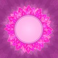 Pink Flower Label on Purple Background Card Royalty Free Stock Images