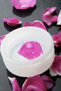Pink flower petal and water bowl decoration. Royalty Free Stock Photo
