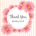 Pink Flower Thank you Greeting Card Vector