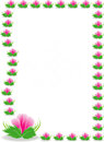 Pink flowers border on white background illustration design Royalty Free Stock Photos
