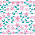 Pink flowers and cyan leaves seamless pattern on striped background  design for fabric clothes background Royalty Free Stock Photo