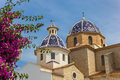 Pink flowers in front of the blue domes of the Altea church Royalty Free Stock Photo