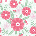 Pink flowers and green leaves seamless pattern vector elegant background Royalty Free Stock Image