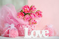 Pink flowers and handmande love letters beautiful spring tulips handmade sign decoration Stock Photography