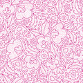 Pink flowers lineart seamless pattern background Stock Image