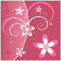 Pink Flowers and Swirls Stock Photo