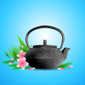 Pink flowers and teapot vector background with tropical green leaves Stock Image