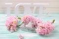 Pink Flowers, Wooden Word Love...