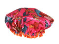 Pink flowery shower cap Royalty Free Stock Photo