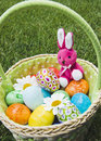 Pink fluffy bunny in Easter basket of eggs Royalty Free Stock Images
