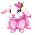 Pink fluffy Bunny with green eyes. Vector