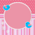 Pink frame with birds and flowers Royalty Free Stock Photography