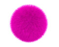 Pink fur ball isolated on a white background Royalty Free Stock Images
