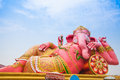 Pink ganesha in relaxing protrait on blue sky thailand Royalty Free Stock Photo