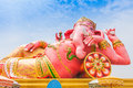 Pink ganesha in relaxing protrait on blue sky thailand Stock Photos