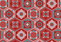 Pink geometric pattern with hexagons and squares