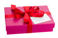 Pink gift box blank card isolated om white background Royalty Free Stock Photos