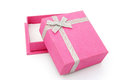 Pink gift box opened on white with clipping path Royalty Free Stock Photos