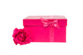Pink gift box and a pink rose Royalty Free Stock Photo