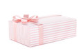 Pink gift box with ribbon and bow Stock Photos