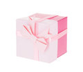 Pink gift box with ribbon bow isolated on white background Royalty Free Stock Photo