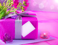 Pink giftbox for mother Royalty Free Stock Photo