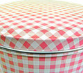 Pink gingham cake tin Stock Photo