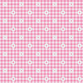 Pink Gingham Fabric With Flowe...