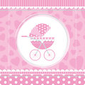 Pink girl baby stroller on polka dot stripes and ribbons frame and hearts background Royalty Free Stock Photography