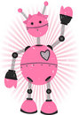 Pink Girl Robot with grunge Royalty Free Stock Photo