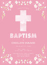 Pink Girl's Baptism/Christening/First Communion/Confirmation Invitation with Watercolor Cross and Floral Design - Vector Royalty Free Stock Photo