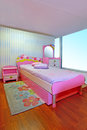 Pink girly bedroom small modern children interior Stock Photo