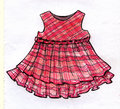 Pink girly dress design pencil sketch hand drawn ink and markers of a with grey and purple stripes and a folded ribbon at the Stock Images