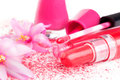 Pink girly make up luxurious still life blossom face powder nail polish and lip gloss on white background Stock Photography