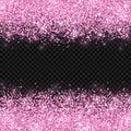 Pink glitter on dark transparent background. Vector
