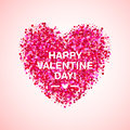 Pink glitter valentine day heart shape. Vector background for wedding invitation, greeting card. Glamorous sparkling
