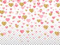 Pink and gold glitter heart confetti on transparent background. Bright falling heart with star dust. Romantic design elements for