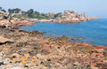 Pink granite coast in Brittany Royalty Free Stock Photography