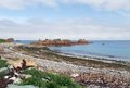 Pink granite coast summer scenery at the in brittany france Stock Photos