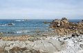 Pink granite coast summer scenery at the in brittany france Stock Photo